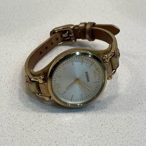 Fossil Gold Leather Watch